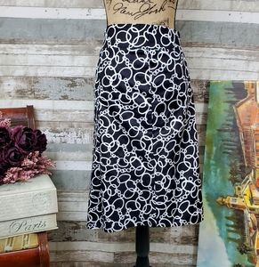 Lane Bryant Chain Link Skirt Black White 22 EUC